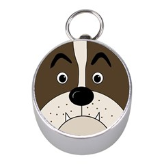 Bulldog face Mini Silver Compasses