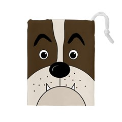 Bulldog face Drawstring Pouches (Large)