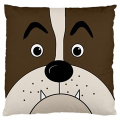 Bulldog face Large Flano Cushion Case (One Side)