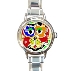 Colorful cat Round Italian Charm Watch