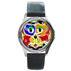 Colorful cat Round Metal Watch