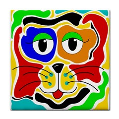 Colorful cat Tile Coasters