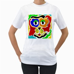 Colorful cat Women s T-Shirt (White) (Two Sided)
