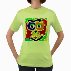 Colorful cat Women s Green T-Shirt