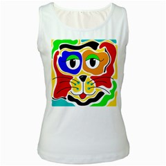 Colorful cat Women s White Tank Top