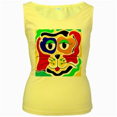 Colorful cat Women s Yellow Tank Top