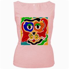 Colorful cat Women s Pink Tank Top
