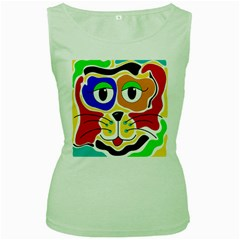 Colorful cat Women s Green Tank Top
