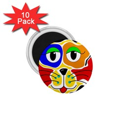 Colorful cat 1.75  Magnets (10 pack)