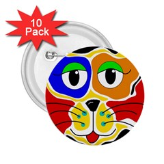 Colorful cat 2.25  Buttons (10 pack)