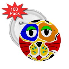 Colorful cat 2.25  Buttons (100 pack)