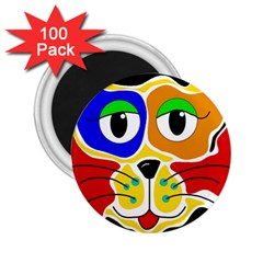 Colorful cat 2.25  Magnets (100 pack)