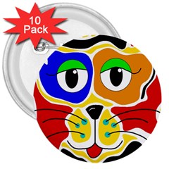Colorful cat 3  Buttons (10 pack)