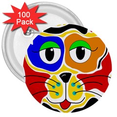 Colorful cat 3  Buttons (100 pack)