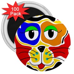 Colorful cat 3  Magnets (100 pack)
