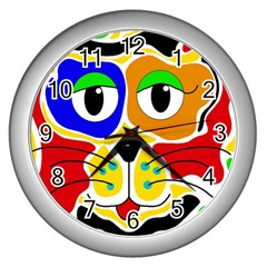 Colorful cat Wall Clocks (Silver)