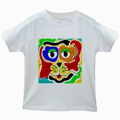 Colorful cat Kids White T-Shirts