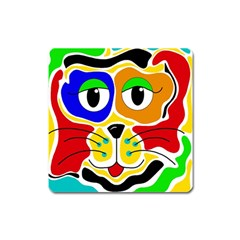 Colorful cat Square Magnet