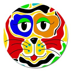 Colorful cat Magnet 5  (Round)