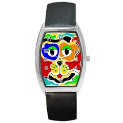 Colorful cat Barrel Style Metal Watch