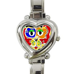 Colorful cat Heart Italian Charm Watch