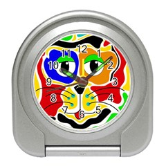 Colorful cat Travel Alarm Clocks