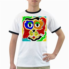 Colorful cat Ringer T-Shirts