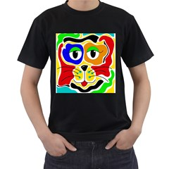 Colorful cat Men s T-Shirt (Black) (Two Sided)