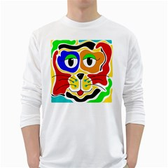 Colorful cat White Long Sleeve T-Shirts