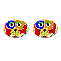 Colorful cat Cufflinks (Oval)