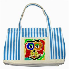 Colorful cat Striped Blue Tote Bag