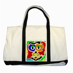 Colorful cat Two Tone Tote Bag