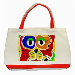 Colorful cat Classic Tote Bag (Red)