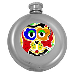 Colorful cat Round Hip Flask (5 oz)