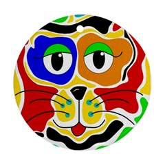 Colorful cat Round Ornament (Two Sides)