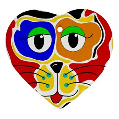 Colorful cat Heart Ornament (2 Sides)
