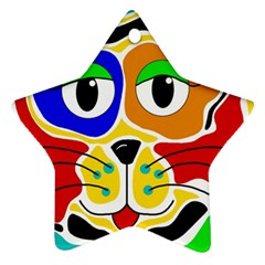Colorful cat Star Ornament (Two Sides)