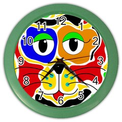 Colorful cat Color Wall Clocks