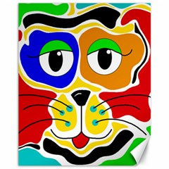 Colorful cat Canvas 11  x 14