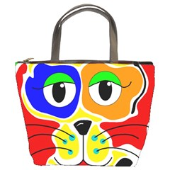 Colorful cat Bucket Bags