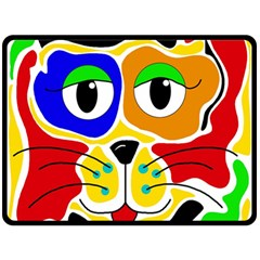 Colorful cat Fleece Blanket (Large)