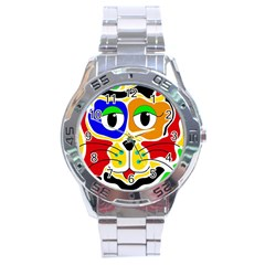 Colorful cat Stainless Steel Analogue Watch