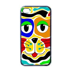 Colorful cat Apple iPhone 4 Case (Black)