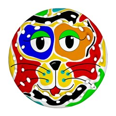 Colorful cat Round Filigree Ornament (2Side)