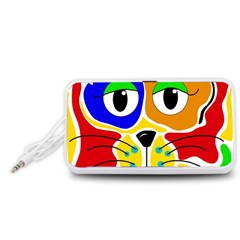 Colorful cat Portable Speaker (White)