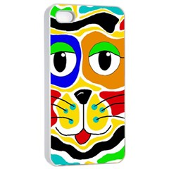 Colorful cat Apple iPhone 4/4s Seamless Case (White)