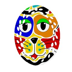 Colorful cat Oval Filigree Ornament (2-Side)