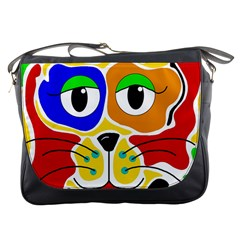 Colorful cat Messenger Bags