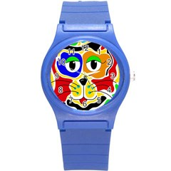 Colorful cat Round Plastic Sport Watch (S)