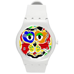 Colorful cat Round Plastic Sport Watch (M)